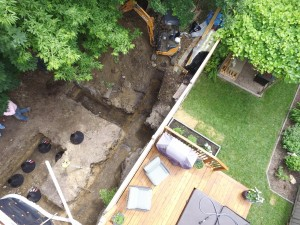 Deck and tiling excavation